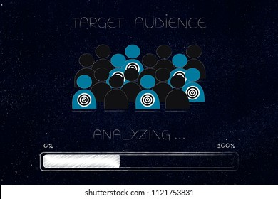 marketing segmentation and targeting conceptual illustration: analyzing target audience among a crowd with progress bar loading below