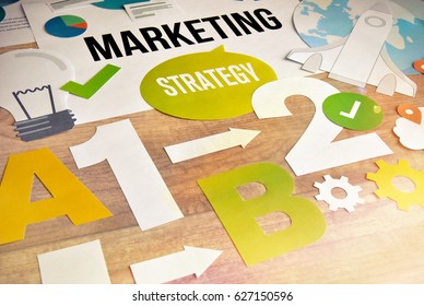 Marketing strategy concept design. Concept for website and mobile banner, internet marketing, social media and networking, e-commerce, presentation template, marketing material.