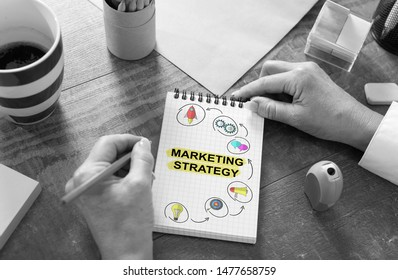 Marketing strategy concept drawn on a notepad