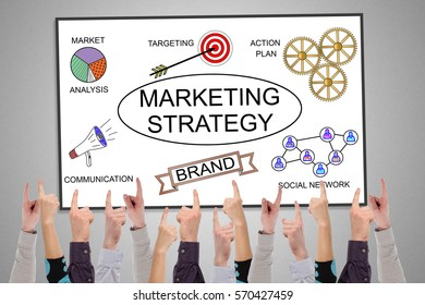 Marketing strategy concept on a whiteboard pointed by several fingers