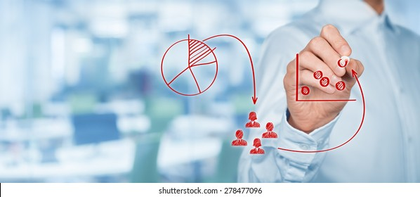 marketing concept of targeting a segment Target dart with arrow over blurred bokeh background ,metaphor to target marketing or target arrow concept targeting, marketing, recruit set of flat design vector illustration concepts for management, strategy and digital marketing.