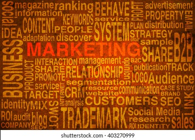 Marketing terms scheme in orange colors to be used as background