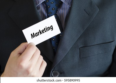 Marketing text note concept over businessman background