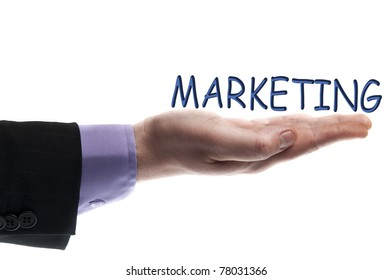 Marketing word in male hand