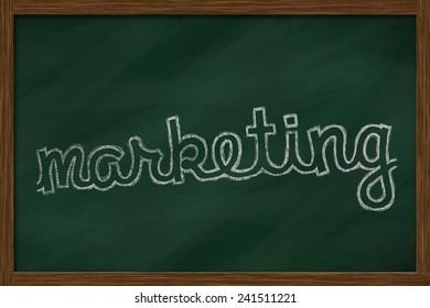 marketing word written on chalkboard
