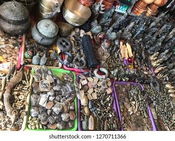marketplace buddhist talismans, lucky charms and stone amulet. amulet market in thailand.