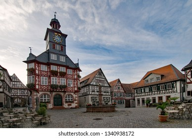 At the marketplace of the old town of Heppenheim with its beautiful townhall in Hesse, Germany