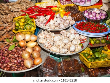 markets ho chi minh saigon south vietnam howing typical vietnamese food staples