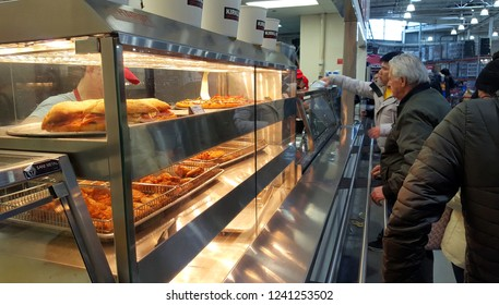 MARKHAM, CANADA - NOVEMBER 17, 2018: Pizza selection at a food court in Markham, Canada.