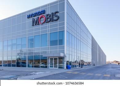 Markham, Ontario, Canada - April 22, 2018: Hyundai Mobis Parts Canada Corp. in Markham, Ontario, Canada. Hyundai Mobis is a public South Korean car parts company.
