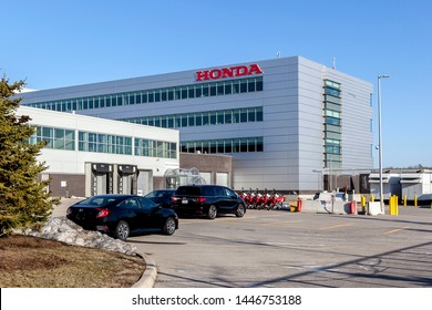 Markham, Ontario, Canada - April 22, 2018: Honda Canada Inc. head office in Markham, ontario,  Canada. Honda Canada Inc. is the Canadian division of the Honda Motor Company.