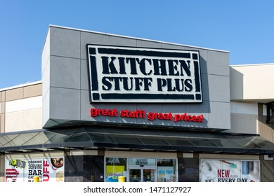 Markham, Ontario, Canada - August 05, 2019: Kitchen Stuff Plus store sign in Markham, Ontario, Canada. Kitchen Stuff Plus is a leading Canadian retailer in housewares and home decor.