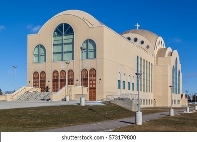 MARKHAM, ONTARIO, CANADA - JANUARY 17, 2017: St. Mark Coptic Orthodox Cathedral in Markham, Ontario. This is the first Coptic cathedral in North America, consecrated by Coptic Pope Tawadros II
