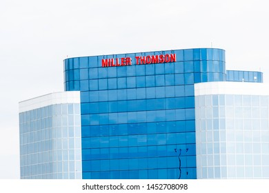 Markham, Ontario, Canada - July 13, 2019: Miller Thomson LLP office building in Markham, Ontario, Canada. Miller Thomson LLP is a Canadian full-service national law firm.