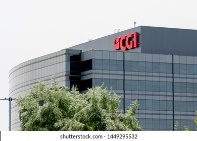 Markham, Ontario, Canada - July 9, 2018: Sign of CGI on the building in Markham, Ontario, Canada. CGI Information Systems is a Canadian IT consulting, systems integration, outsourcing company.