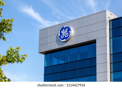 Markham, Ontario, Canada- June 16, 2018: GE sign on the building of Grid IQ Global Innovation Centre in Markham, Ontario, Canada. The facility is designed to foster innovation and global collaboration