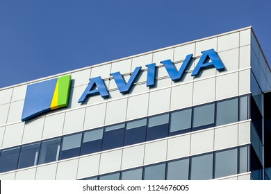 Markham, Ontario, Canada - June 29, 2018: Sign on the Aviva Canada's head office in Markham, Ontario. Aviva plc is a British insurance company, a general insurer and a life and pensions provider.