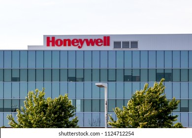 Markham, Ontario, Canada - June 29, 2018: Sign of Honeywell on the building in Markham, Ontario. Honeywell Building Solutions, Inc. manufactures, installs, integrates, and maintains building systems.