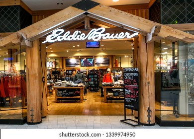 Markham, Ontario, Canada - March 13, 2019: Eddie Bauer store in CF Markville Shopping centre in Markham, Ontario. Eddie Bauer is a clothing store operated by American company Eddie Bauer, LLC