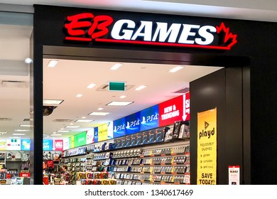Markham, Ontario, Canada - March 13, 2019: EB Games store front in CF Markville Shopping centre in Markham, Ontario, Canada. EB Games is an American computer and video games retailer.