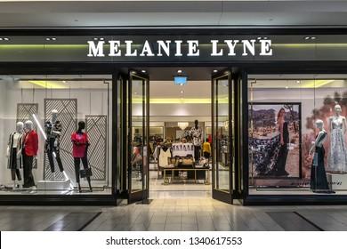 Markham, Ontario, Canada - March 13, 2019: Melanie lyne storefront in CF Markville Shopping centre in Markham, Ontario, Canada. Melanie Lyne is an Canadian fashion brand.