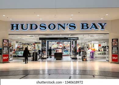 Markham, Ontario, Canada - March 13, 2019: Hudson's Bay store front in CF Markville Shopping centre in Markham, Ontario, Canada. The Hudson's Bay Company is a Canadian retail business group.