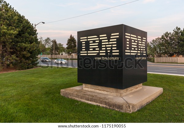 Markham, Ontario, Canada- May 16, 2018: Sign at IBM Canada Head Office Building in Markham, Ontario. IBM is an American multinational technology company.