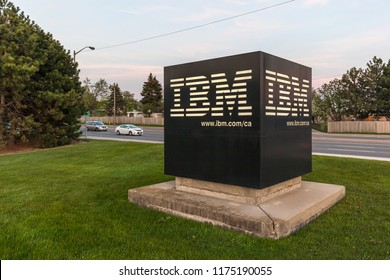 Markham, Ontario, Canada- May 16th, 2018: Sign at IBM Canada Head Office Building in Markham, Ontario. IBM is an American multinational technologycompany.