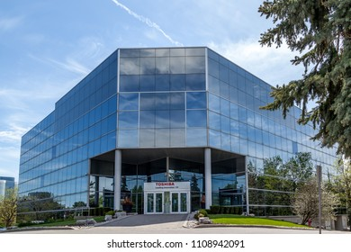 Markham, Ontario, Canada - May 21, 2018: Toshiba Canada head office near Toronto in Markham. Toshiba Corporation is a Japanese multinational conglomerate.
