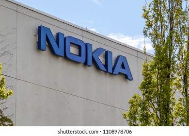 Markham, Ontario, Canada - May 21, 2018: Sign of Nokia at Markham, Ontario. Nokia is a Finnish multinational, telecommunications, information technology, and consumer electronics company.