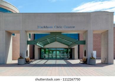 Markham, Ontario, Canada - May 21, 2018: Entrance of Markham Civic Centre.  The Markham Civic Centre is the city hall of the city of Markham, Ontario.