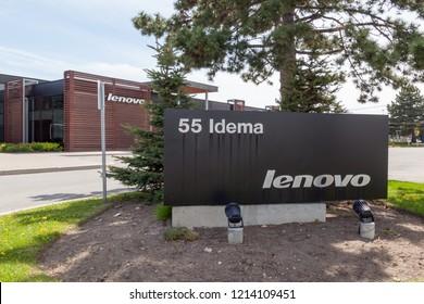 Markham, Ontario, Canada - May 21, 2018: Sign of Lenovo at Lenovo Canada head office near Toronto in Markham. Lenovo is a Chinese technology company with headquarters in Beijing, China.