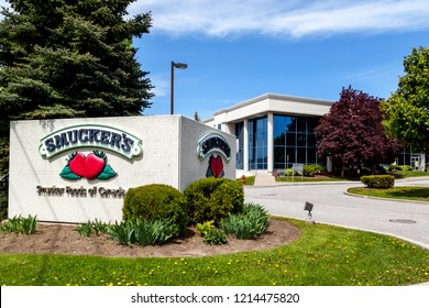 Markham, Ontario, Canada- May 21, 2018: Sign of Smucker Canada at Markham, Ontario, an American manufacturer of fruit spreads, ice cream toppings, beverages, shortening, peanut butter, oils.