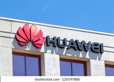 Markham, Ontario, Canada - May 21, 2018: Sign on the Huawei Technologies Canada office building in Markham, Ontario, Canada, a Chinese networking, telecommunications equipment and services company