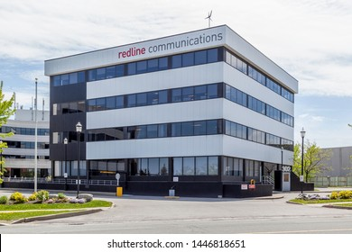 Markham, Ontario, Canada- May 21, 2018: Redline Communications headquarters in Markham, Ontario, Canada. Redline is a Canadian wireless communications network designer and manufacturer.