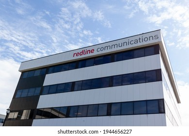 Markham, Ontario, Canada- May 22, 2020: Redline Communications headquarters in Markham, Ontario, Canada. Redline is a Canadian wireless communications network designer and manufacturer.