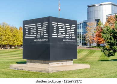 Markham, Ontario, Canada- October 30, 2018: Sign at IBM Canada Head Office Building in Markham near Toronto, Ontario. IBM is an American multinational technology company.
