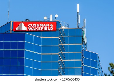 Markham, Ontario, Canada - October 30, 2018: Sign of Cushman & Wakefield Inc. , an American commercial real estate services company.