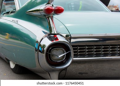 Markham, Ontario / Canada – September 9, 2018: Classic profile view of a beautiful green 1959 Cadillac Eldorado, with the rear tail lights and chrome bumper and accessories.