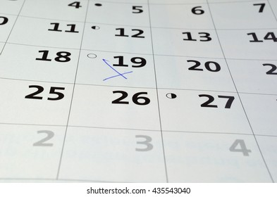 marking on a white calendar