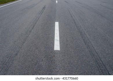 markings on the road close-up