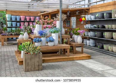 Marknesse The Netherlands - April 07, 2018: Modern garden shop selling flowers and accessories like pots and other plant decoration