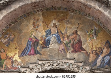 Mark's Basilica (Basilica di San Marco) relief, in Venice, Italy