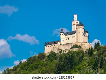 Marksburg castle above the town of Braubach in Rhineland-Palatinate, Germany. It is one of the main landmarks of the Rhine Gorge UNESCO World Heritage Site.