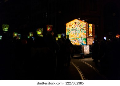 Marktgasse, Basel, Switzerland - February 19th, 2018. Beautiful hand painted and illuminated main lantern during the morgestraich parade.