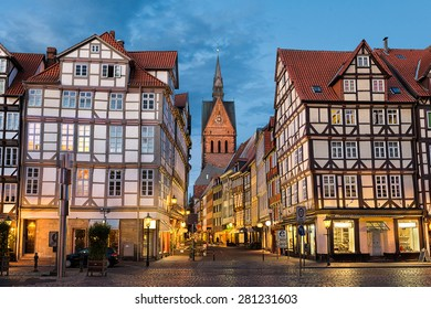 Marktkirche and the old town in Hannover, Germany at night