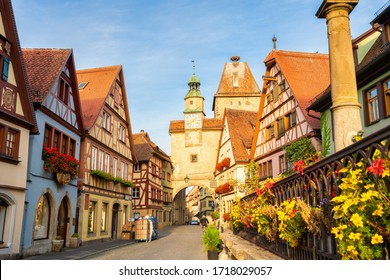 Markus tower in morning light. One of the oldest ruins of this Bavarian town of Rothenburg ob der Tauber. Germany