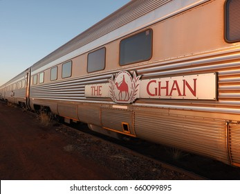 Marla, Australia - May 8, 2017: Carriages of the famous Ghan railway at a morning stop in Marla South Australia