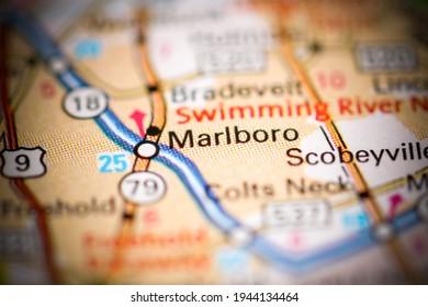 Marlboro. New Jersey. USA on a geography map