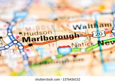 Marlborough. Massachusetts. USA on a geography map